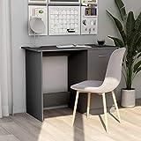 vidaXL Escritorio de Ordenador Trabajo Estudio Ejecutivo Oficina Habitación Despacho Mueble Duradera Robusta Estable de Aglomerado Gris