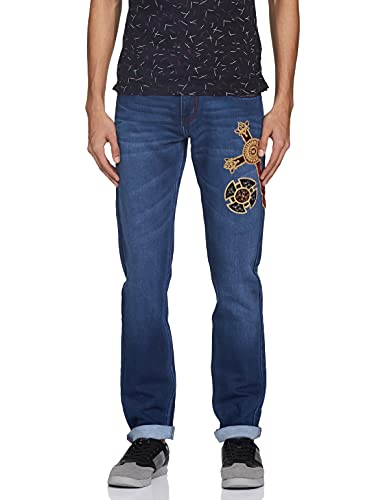 ALEXANDER JEANS by ROHIT BALDark Blue Denim Jeans with Cross on one side