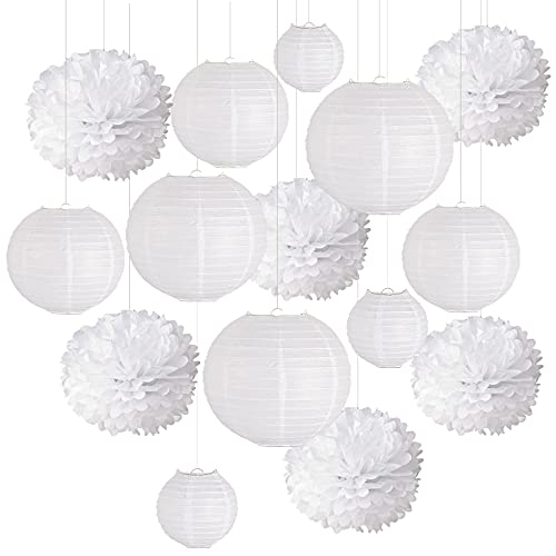 VGOODALL 15 Stücke Papier Lampions Set, 9 Weiß Papier Laterne in 3 Größen mit 6 Weiß Seidenpapier Pompoms für Geburtstag Babyshower Party Garten Hochzeit Dekoration 15cm 20cm 25cm