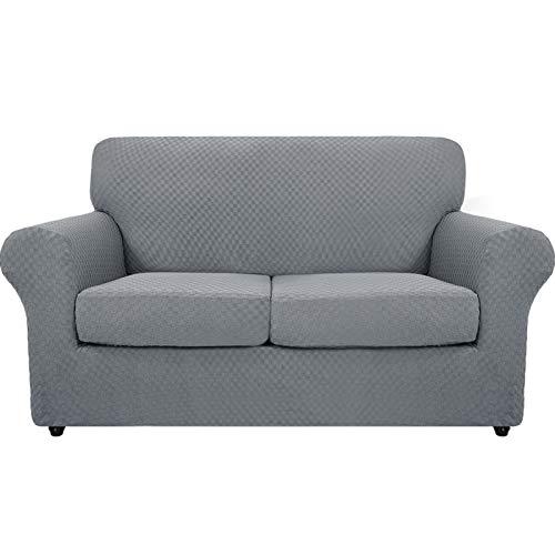 MAXIJIN Funda para sofá de 3 plazas, antideslizante, superelástica, de jacquard, para perros y otras mascotas, 4 piezas