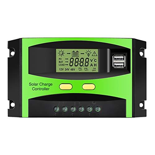 MOHOO Solarladeregler Solarregler 30 A 12 V / 24 V LCD Solarladegerät Ladesteuergerät Stromanzeige LCD-Solarpanel mit Dual-USB-Batterie Regler Auto-Einstellung Schalter Überlastschutz
