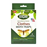 Biocare Clothes Moth Sticky Traps With Pheromone Lures, Nontoxic And Pesticide-Free, Made In Usa, 2 Count, White (Package May Vary)