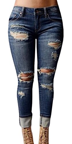 Chuanqi Women's High-waisted Ripped Holes Skinny Jeans Plus Size,Blue,XX-Large