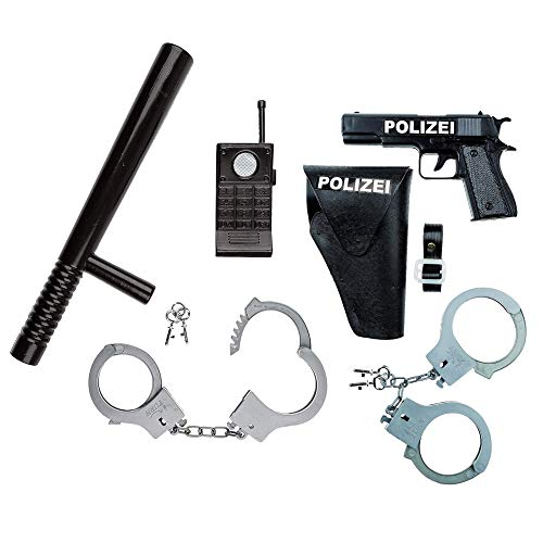 Idena 8040007 Juego de policía, pistola, cabestro y esposas