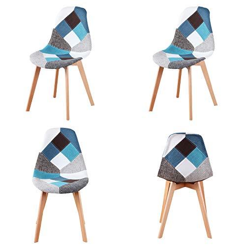 WV LeisureMaster Esszimmerstühle Stoff Küchenstühle mit Holzbeinen für Esszimmer Wohnzimmer 4er Set