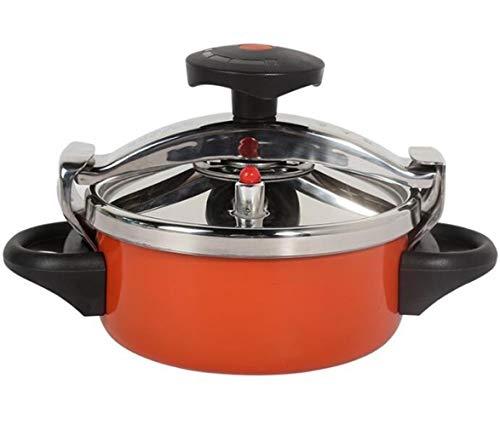 SJHSAIU Druckkocher Suppe doppelten Zweck Gasherd Universaltopf Edelstahlabdeckung 2L-Induktionsherd geeigneten Base, orange