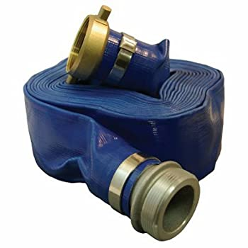 Apache 98138010 1-1/2  x 25  Blue Standard-Duty PVC Lay-Flat Discharge Hose with Aluminum Pin Lug Fittings