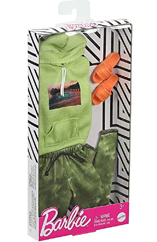Barbie Fashions Pack: Ken Doll Clothes with Green Sleveless Hoodie, Camo Joggers & Orange Sandals, Gift for Kids 3 to 8 Years Old