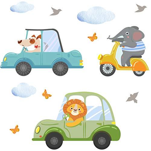 Wandtattoo Auto Kinderzimmer Deko Junge Fahrzeuge Wandbild Autos Jungenzimmer Babyzimmer Wandbild Jungs von greenluup - Feuerwehrauto Traktor Tiere (Motiv 1)