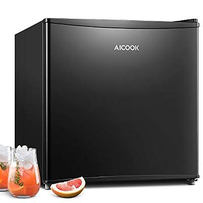 AICOOK Mini Fridge with Freezer, 1.6 Cu.Ft Compact & Mini Refrigerator with 6 Adjustable Thermostat, Energy Star Single Reversible Door, Super Quiet for Bedroom, Dorm, Office, RV, Garage, Apartment