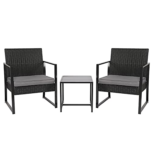 Rattan Garden Furniture Set 2 Seater, 3 Piece Black Wicker Patio Bistro Dining Set, Coffee Table and Chairs with Cushions, Outdoor Seating for Porch Balcony Conservatory