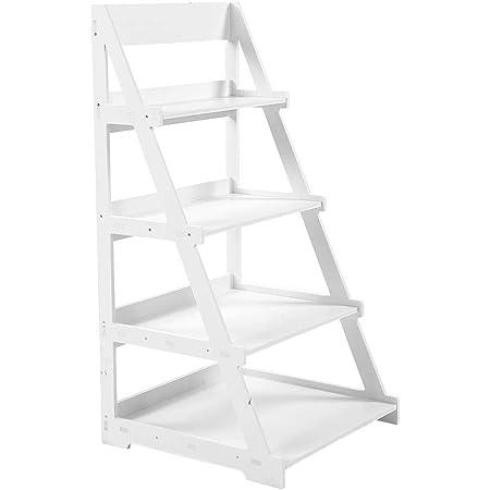 4 estantes de escalera, estantería de almacenamiento para biblioteca, soporte de plantas de estantes, panel de plástico de madera