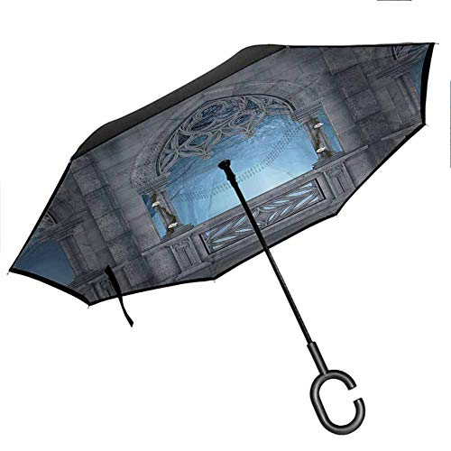Fairytale Umbrella for Women with UV Protection Fantasy World Castle Architecture Details Terrace Gazebo Indoor Foggy Forest Grey Light Blue