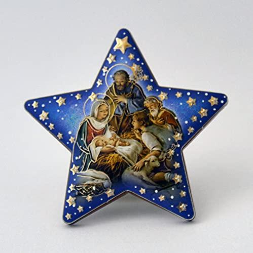 Kerststalweergave stervorm ca. 7 x 7 cm om op te hangen/neer te zetten