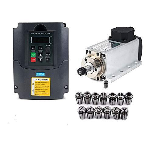 CNC 1.5kw 220v Quadrat Luftkühlspindel ER11 1500W luftgekühlte Frässpindel + 1.5KW VFD Inverter + 13pcs / set ER11