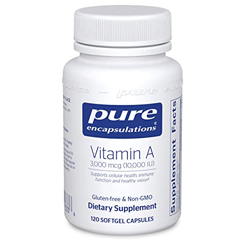 Pure Encapsulations Vitamin A 10,000 IU from Cod Liver Oil | Supports Immune and Cellular Health, Vision, Bones, Skin, and Reproductive Function* | 120 Softgel Capsules