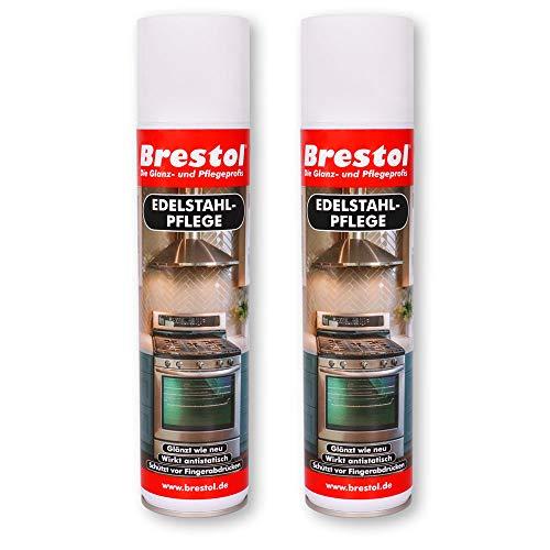 Brestol Spray de cuidado de acero inoxidable, 2 unidades de 400 ml, limpiador de acero inoxidable, cuidado de cocina, cuidado antihuellas, brillo de acero inoxidable que evita las huellas dactilares.