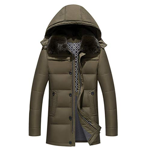 YRFDM Daunenjacke,Jacken dick warm halten Männer ist Daunenjacke hochwertige Pelzkragen Kapuzen Daunenjacke Wintermantel Männlich, Khaki, XXXL