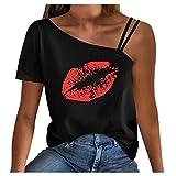 T-shirt da donna estate casual stampa bocca t-shirt spalla fredda manica corta tshirt tunica donna top Nero M