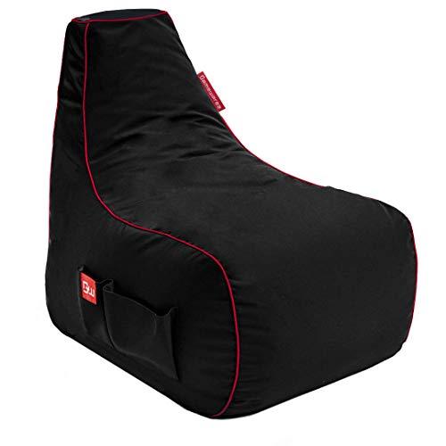 GAMEWAREZ Crimson Warrior Gaming Sitzsack, Made in Germany, für PS4, XBOX360, XboxOne, DS, Nintendo Switch, Smartphone. Schwarz mit rotem Keder, Tasche & Headsethalterung, (L) x 67cm(B) x 80cm(H)