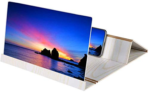 Telefoonscherm magnifier, opvouwbaar 12 inch mobiele telefoon projector versterker mobiele steun houder HD film-video-staander (Dark Brown)