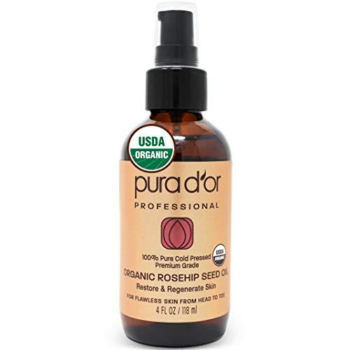 Pura D'Or (118 ml) orgánico aceite de semillas de rosa mosqueta 100% puro frío presionado, all natural tratamiento anti-envejecimiento crema hidratante para el rostro,(el embalaje pueden variar)