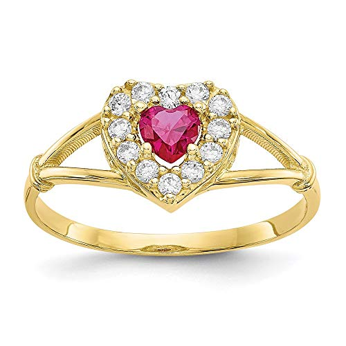 10k Yellow Gold Red White Cubic Zirconia Cz Heart Band Ring Size 8.00 Love Fine Jewellery For Women Gifts For Her