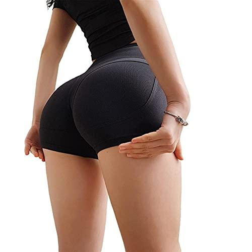 TASJS Yoga Femenino Deporte Fitness Jogger Deportes Alto Cintura Compresión Correr Entrenamiento Shorts Slim Pitmy Control Gym Shorts Atléticos (Color : Black, Size : S)