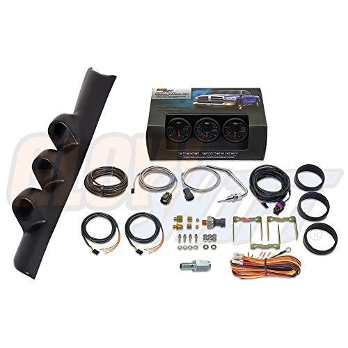 GlowShift Diesel Gauge Package for 1994-1997 Dodge Ram Cummins 2500 3500 - Black 7 Color 60 PSI Boost, 1500 F Pyrometer EGT & 30 PSI Fuel Pressure Gauges - Black Triple Pillar Pod