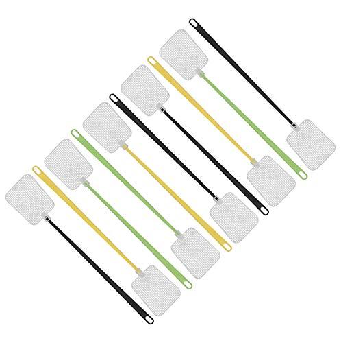 FACKELMANN Fliegenklatsche Tecno, Insektenschutz mit Aufhängöse (Farbe: Gelb, Grün, Schwarz - Nicht frei wählbar), Menge: 1 x 10er Set