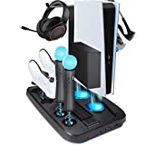 Vertical Charging Stand for Playstation 5/PS5 Ultra HD with Cooling Fan and Dual Controller Charge Station Dock, P-Move Controller Charger/P-VR 1/2 Converter Storage Stand