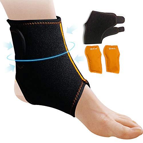 Cavigliera Regolabile per Piede e Caviglia con Cuscinetti in Gel per terapia Caldo/Freddo - Ideale per Tendinite d¡¯Achille, Borsite, Fascite, Gonfiore - Regolabile Riutilizzabile