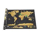Scratch Map Mapa del mundo Semi-manual Colgante Hoja dorada Complejo creativo Detalle geográfico Fondo negro (Negro) ToGames-ES