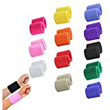 STONCEL 12 Pairs Colorful Sports Wristbands Cotton Sweatband Wristbands Wrist Sweatbands Wrist Sweat Bands for Tennis, ,Sport, Basketball,Gymnastics,golf,Running (12pair,Random Color)