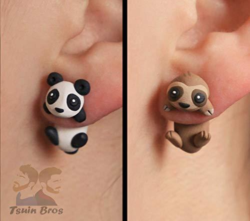 Pendientes de Oso Panda o Perezoso. Pendientes de animales hechos con arcilla polimérica.