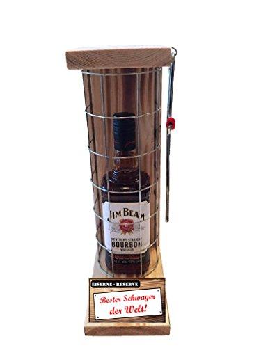 Bester Schwager der Welt - Die Eiserne Reserve Flasche Jim Beam 0,70L incl. Säge zum zersägen des Gitter - die Geschenkidee für den Schwager Die Geschenkidee
