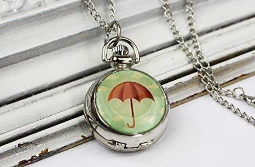 Orologio da tasca con ombrello, ciondolo a ombrello, collana, nuvole, pioggia, orologio a catena, gioielli vintage in argento, gioielli artistici, ciondolo alla moda.