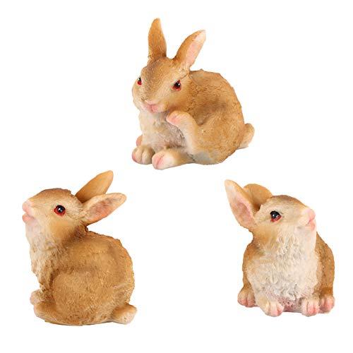 Yardwe 3 figuras de conejo en miniatura para decoración de tartas, diseño de animales en miniatura, accesorios de jardín, decoración de hadas, casa de muñecas, juguetes de simulación