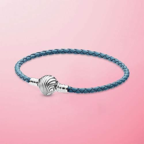 Venta Superior 6 Estilos 925 Sterling Silver Heart Snake Chain Pulsera para Las Mujeres Ajuste Original Charm Beads Regalo de joyería (Gem Color : Seashell, Length : 20cm)