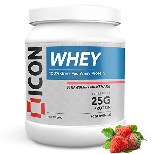 Whey Protein Powder Grass Fed Pure Low Carb Protein Shake - Hormone Free Non-GMO | 30 Servings (960g) - Strawberry Milkshake