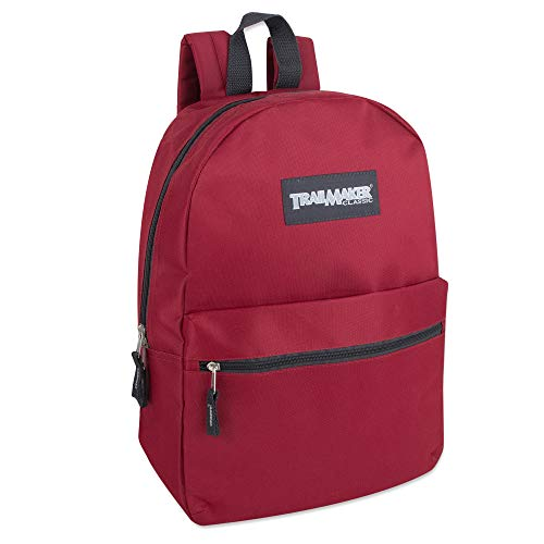 Classic Traditional Solid 17 Inch Backpacks with Adjustable Padded Shoulder Straps Red