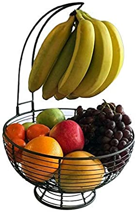 Fruit Basket With Banana Hanger - Regal Trunk Rustic French Farmhouse Fruit Bowl With Banana Tree Hangar