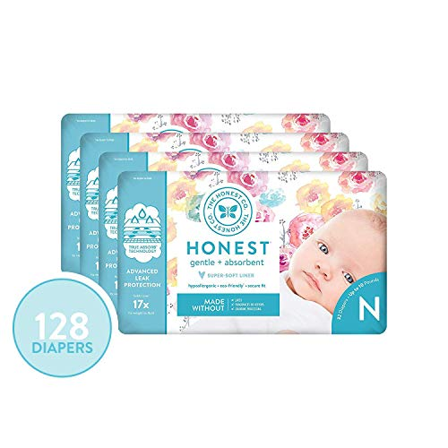 The Honest Company Diapers - Newborn, Size 0 - Rose Blossom Print | TrueAbsorb Technology | Plant-Derived Materials | Hypoallergenic | 32 Count  (Pack of 4)