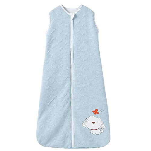 Schlafsack baby Winter mit Ärmel Junge Mädchen Neugeborener - 2.5TOG kinder Schlafanzug/Grau Hund. (150CM/6-10Jahre), Stickerei-Blau Hund)