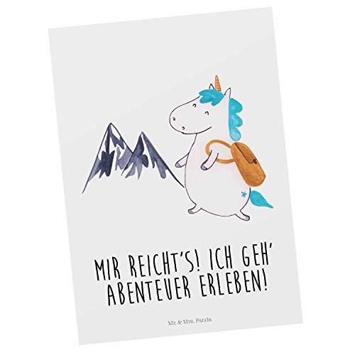 Mr. & Mrs. Panda Grußkarte, Geschenkkarte, Postkarte Einhorn Bergsteiger mit Spruch - Farbe Weiß