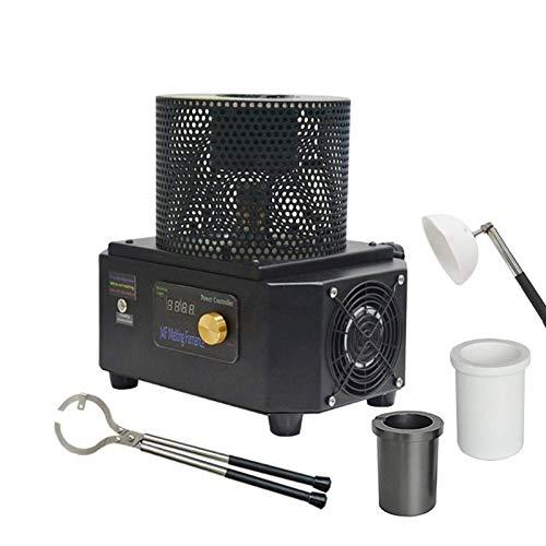 QWERTOUR 1kg 1600 Grados Mini Horno de fusión de inducción portátil para máquina de fundición de Acero de Plata de Oro