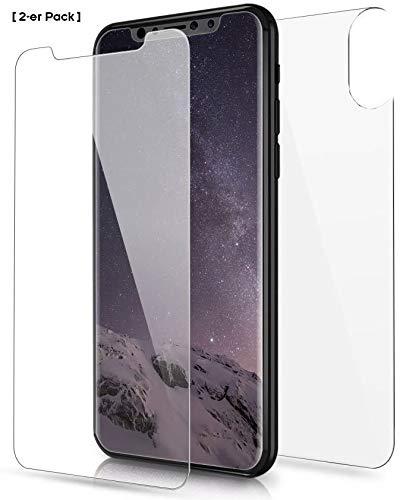 Phone Star [2-er Pack] Panzerglas Folie passend für iPhone XS und X [Front & Back PANZERGLASFOLIE] Glasfolie Hinten und Vorne 9H Displayschutz