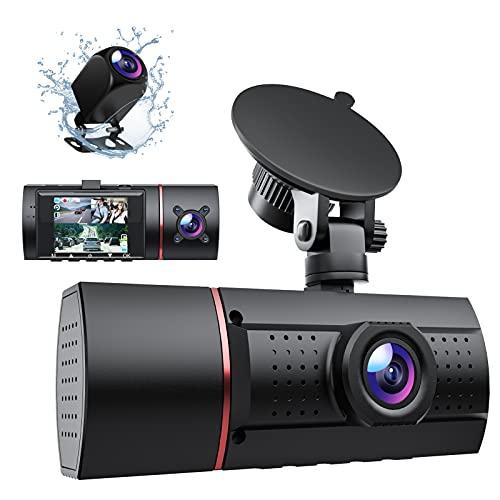 Dashcam, LIDOFIGO 1080P Dashcam Auto Vorne Hinten und Innen Autokamera mit IR-Nachtsicht, Bewegungserkennung, Loop-Aufnahme, WDR-Technologie, 170°Weitwinkel, Schwerkraft-Sensor, Parküberwachung