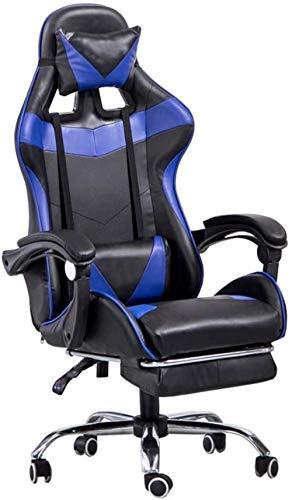 Las sillas ergonómicas Computer Gaming Inicio Silla de Oficina, Cuero Ajustable reclinable Respaldo Alto PU giratoria del Videojuego for sillas de Apoyo for la Cabeza de Apoyo Lumbar Sillón