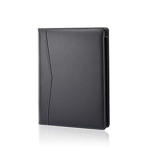 Padfolio Portfolio Leather Binder, Interview Legal Document Organizer, Business Card Holder Included Letter Sized Writing Pad [Piano Noir Faux Leather Matte Finish]